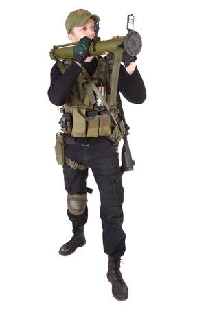 mercenary: mercenary with RPG  isolated on white