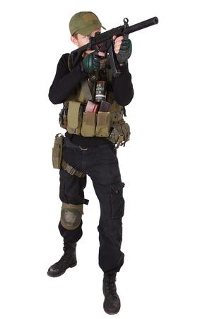 mercenary: mercenary with mp5 submachine gun isolated on white