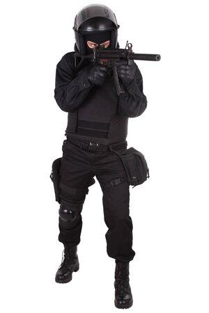 antiterrorist: anti-terrorist policeman in black uniform isolated on white