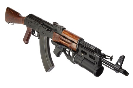 akm: AK 47 with GP-25 grenade launcher isolated on white Stock Photo