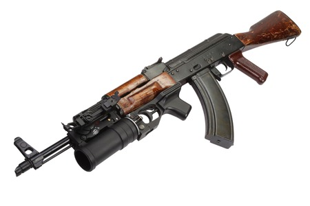 ak 47: AK 47 with GP-25 grenade launcher isolated on white Stock Photo