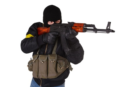 ak 47: insurgent with AK 47 isolated on white background