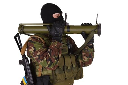 sektor: Ukrainian volunteer with RPG grenade launcher isolated on white