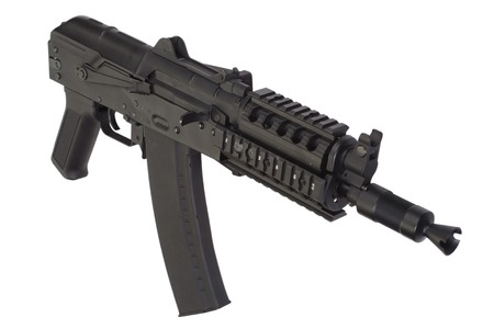 ak47: AK47 short rifle with modern update isolated on white Stock Photo