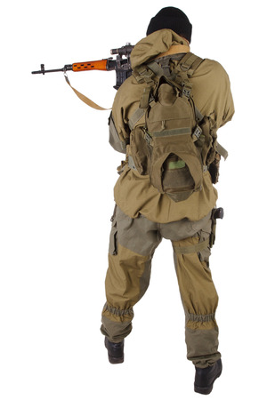 mercenary sniper with SVD rifle isolated on white background Stock Photo
