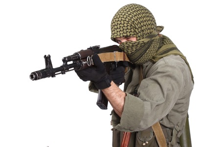 ak 74: rebel with AK 47 isolated on white background