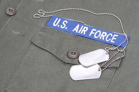 us air force uniform with blank dog tags