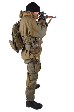 mercenary sniper with SVD rifle isolated on white background Standard-Bild