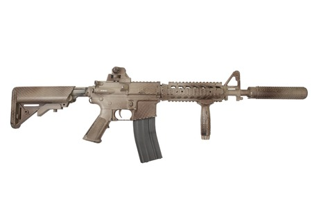 M4 with suppressor  - special forces rifle isolated on a white background