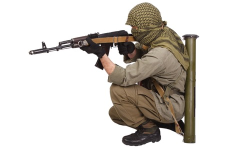 ak 47: rebel with AK 47 isolated on white background