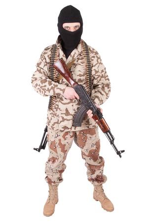 gunner: mercenary with AK 47 isolated on white background