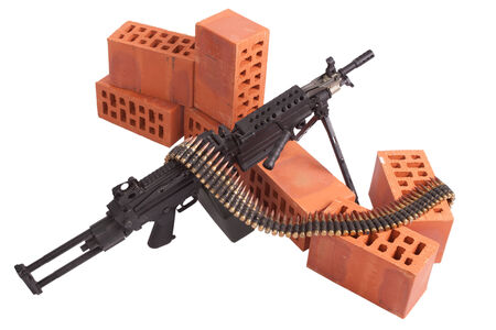 cartridge belt: M249 machine gun on position isolated on white Stock Photo