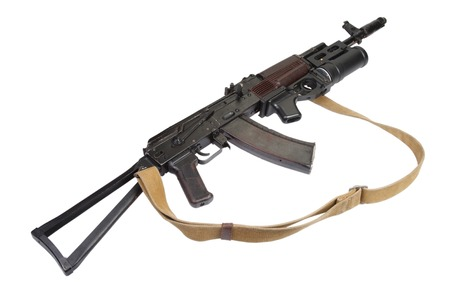 akm: AK rifle with GP-25 grenade launcher isolated on white Stock Photo