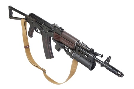 ak 74: AK rifle with GP-25 grenade launcher isolated on white Stock Photo
