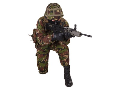 british army: British Army Soldier in camouflage uniforms isolated on white