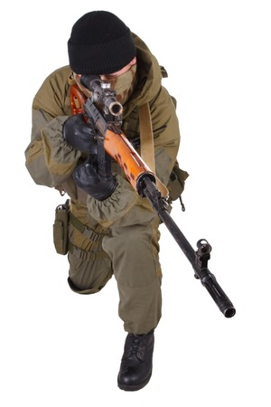 sniper: mercenary sniper with SVD sniper rifle isolated on white background Stock Photo