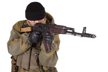 mercenary with rifle isolated on white background