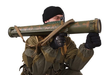 rpg: insurgent with RPG rocket launcher  isolated on white Stock Photo