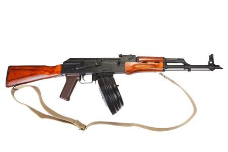 AKM assault rifle with 75 Round Drum Magazine isolated Stock Photo