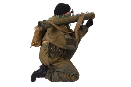 insurgent with RPG rocket launcher  isolated on white Banque d'images