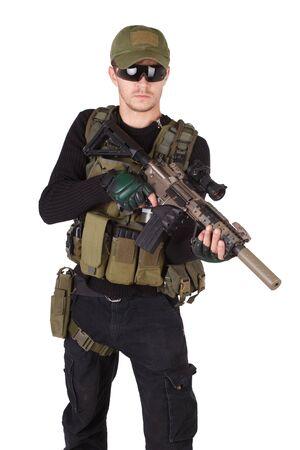 mercenary: mercenary with m4 rifle isolated on white