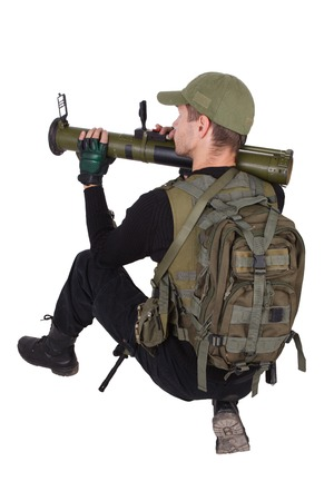 bazooka: mercenary with bazooka isolated on white Stock Photo