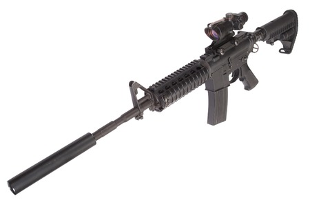 the silencer: M4 rifle with silencer isolated on a white background Stock Photo