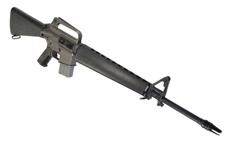 m16: M16 rifle Vietnam War period isolated on a white background