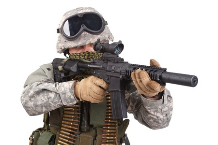 infantryman: US soldier with rifle on white background Stock Photo