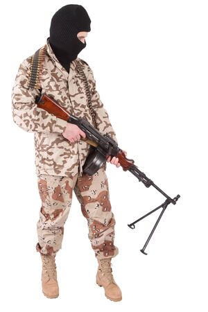 militiaman: mercenary with RPD gun isolated on white background