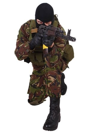 sektor: Ukrainian militiaman with   rifle isolated on white Stock Photo