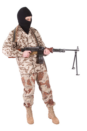 militiaman: mercenary with RPD gun isolated on white background