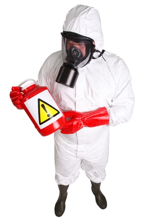 gasmask: Man in a suit of chemical protection isolated on white