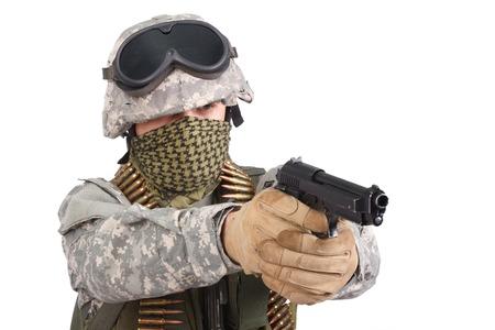 infantryman: US soldier with handgun on white background Stock Photo
