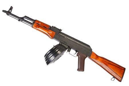 akm: AKM assault rifle with 75 Round Drum Magazine isolated