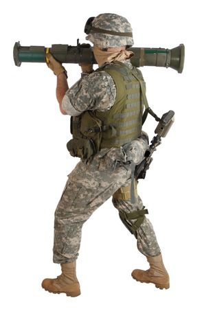 infantryman: US ARMY soldier with AT rocket launcher isolated on white
