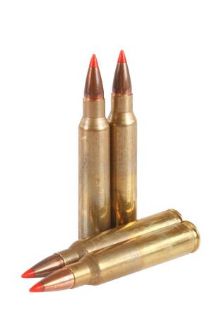 full jacket bullet: 5.56 45mm NATO  intermediate cartridge isolated on white