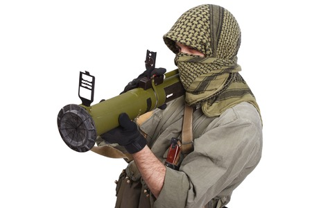 propelled: insurgent wearing keffiyeh  with anti-tank rocket launcher isolated on white Stock Photo