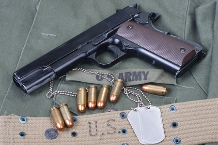 45 gun:  M1911 with US ARMY uniform texture background