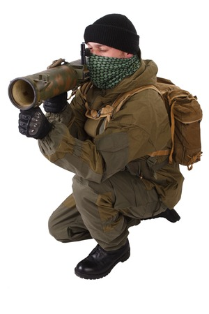 shemagh: insurgent wearing shemagh with RPG rocket launcher isolated on white Stock Photo