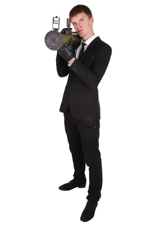 bazooka: man in black suit and bazooka isolated on white