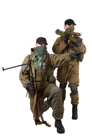 ak 47: insurgents with AK 47 and RPD machine gun isolated on white background Stock Photo