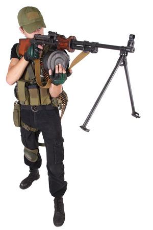 gunner: gunner with RPD gun isolated on white