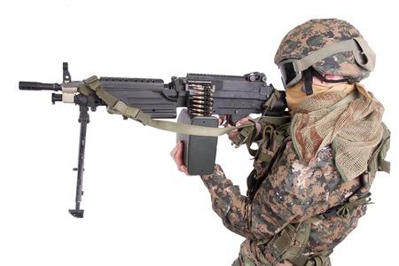 machine gun: US MARINES with machine gun isolated