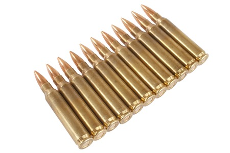 full jacket bullet: 5.56 - 45mm NATO  intermediate cartridges isolated on white