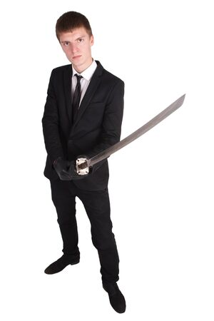 katana sword: man in black suit and katana sword isolated on white