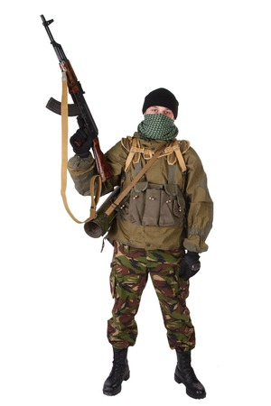 shemagh: insurgent wearing shemagh with   rifle isolated on white background