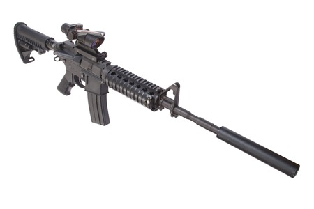 silencer: M4 rifle with silencer isolated on a white background Stock Photo