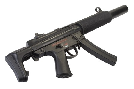 german handgun: submachine gun MP5 with silencer isolated Stock Photo