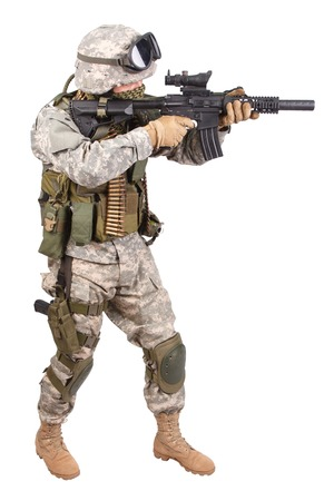 us soldier: US soldier with rifle on white background Stock Photo